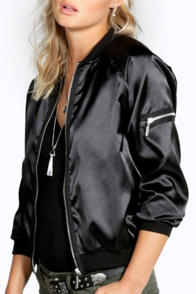Hot Fashion Leather PU Plain Long Sleeve Zip Up Jacket