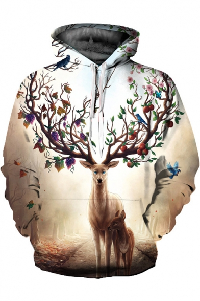 Deer Long Fashion Sleeve Casual New Digital Pattern Collection Hoodie qwtxgB4v