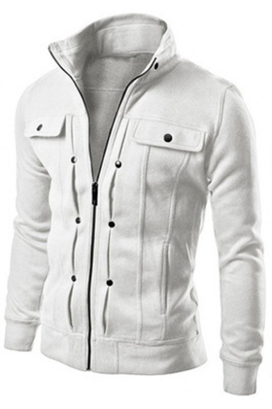 New Basic Plain Fitted Coat Up Sleeve Simple Up Stand Long Trendy Collar Zip 5Z5Rwr