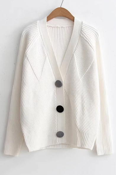 New Trendy Stylish Buttons Down Long Sleeve Plain Casual Cardigan