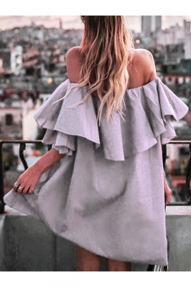 Sexy Off The Shoulder Fashion Ruffle Hem Simple Plain Mini Shift Dress