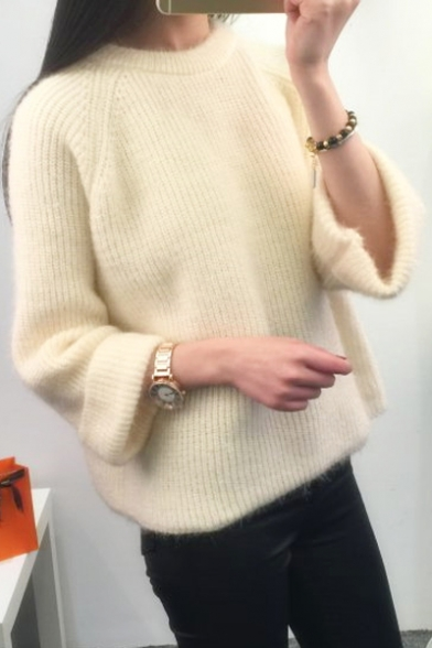 Sleeve Sweater Leisure Pullover Plain Round Casual Long Simple Neck g68nwdYq