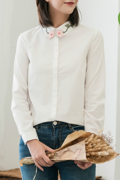 Chic Floral Embroidered Collar Long Sleeve Casual Buttons Down Shirt