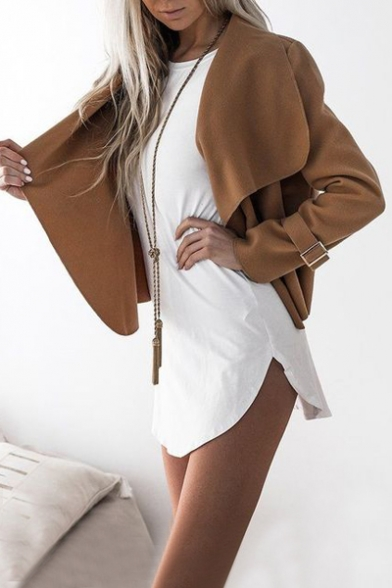 Sleeve Chic Long Open Casual Plain Coat Front Simple qFTX7f