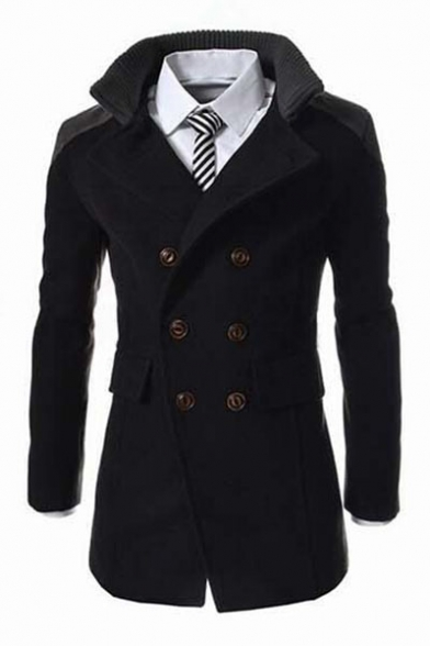 Fashion Notched Lapel Collar Long Sleeve Double Breasted Blazer