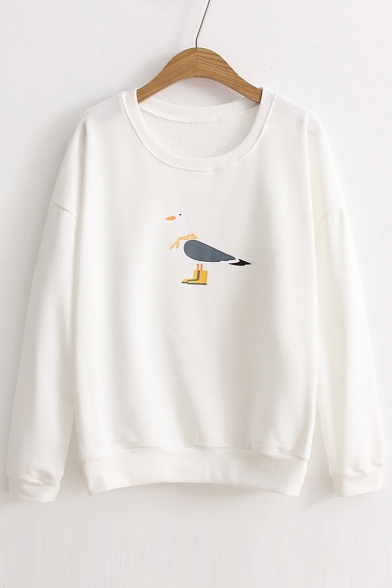 Fashion Pigeon Printed Loose Casual Round Neck Long Sleeve Sweatshirt
