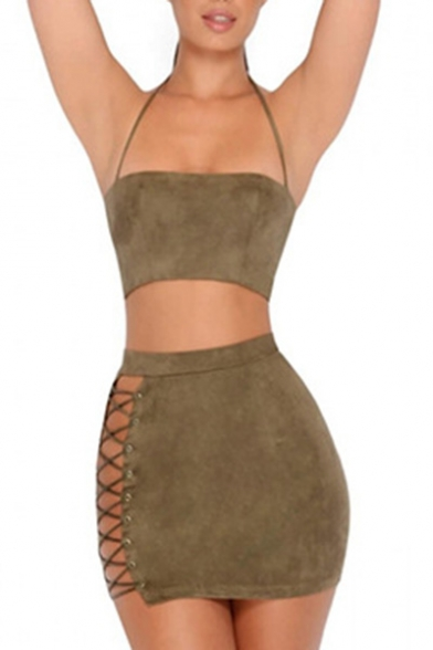 Hot Fashion Sexy Plain Halter Neck Cropped Top with Mini Bodycon Skirt