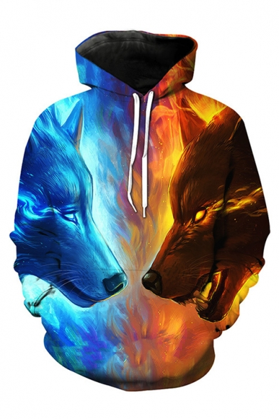 New Trendy Fashion Digital Wolf Pattern Casual Long Sleeve Hoodie