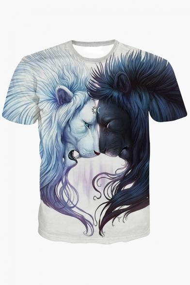 Summer' New Collection 3D Lion Pattern Round Neck Short Sleeve T-Shirt