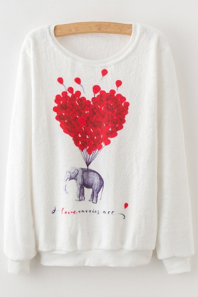 Neck Round Balloon Pattern Elephant Long Chic Sweatshirt Loose Sleeve YSzzqR