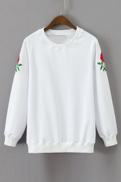 Long Sleeve Rose Embroidered Casual Sweatshirt Chic Round Pullover Neck wtqRpEd