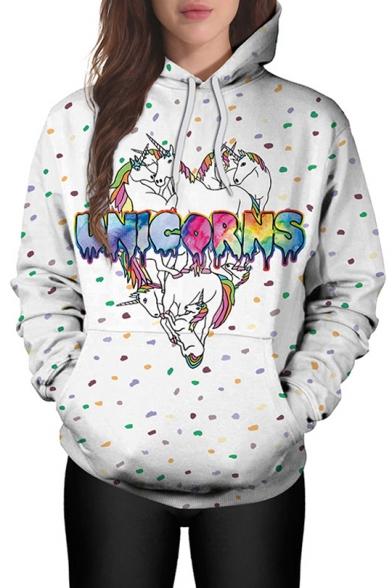 Fashion Cartoon Unicorn Pattern Long Sleeve Casual Hoodie with Pockets