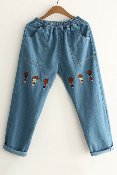 Fashion Embroidery Cartoon pattern Elastic Waist Jeans