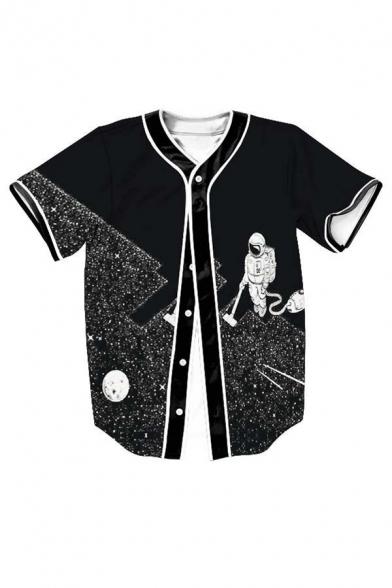 Hot Fashion Galaxy Astronaut Pattern Short Sleeve Buttons Down T-Shirt