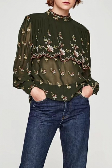 Round Neck Long Sleeve Chic Embroidered Layered Sheer Chiffon Blouse