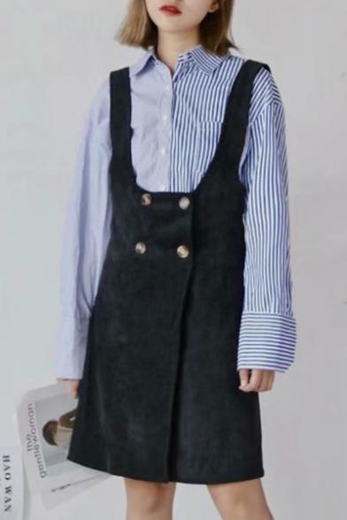 Women's Double Breasted Plain Midi Overall Skirt