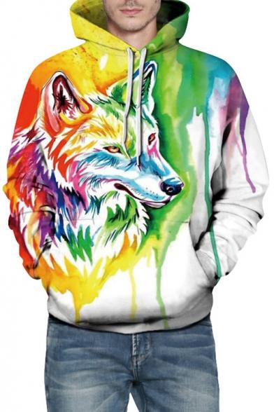 Digital Colorful Painted Wolf Pattern Casual Loose Unisex Hoodie