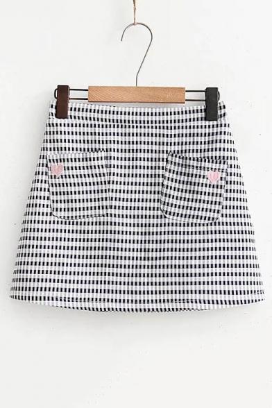 Embroidery Heart Pockets Elastic Waist Plaid Mini A-Line Skirt