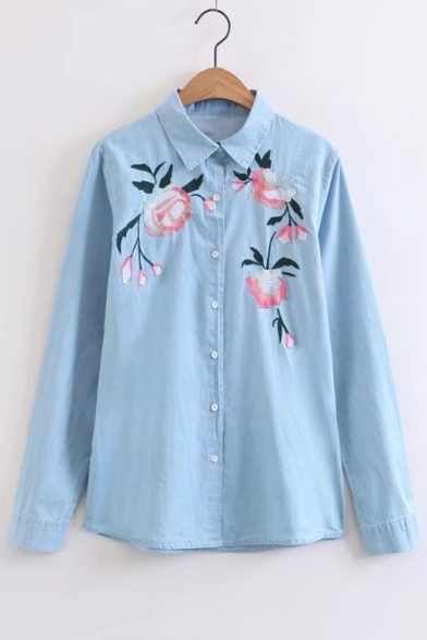 Single Lapel Breasted Floral Embroidery Pattern Fashion Shirt Denim q6SxwOFtI