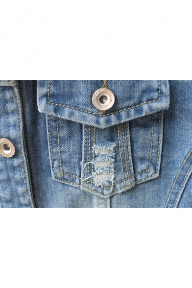 Denim Out Long Plain Sleeve Buttons Ripped Fashion Lapel Down Jacket Collar qXzTn5x