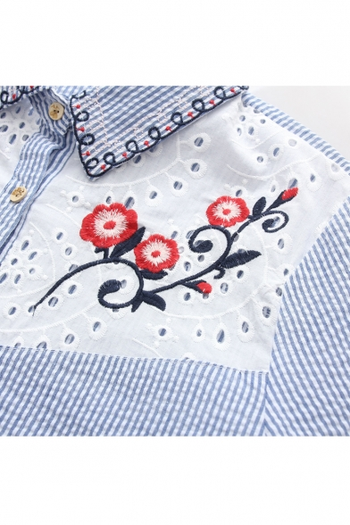 Lapel Floral Shirt Out Hollow Pattern Single Sleeve Long Striped Embroidery Breasted gTwYq4