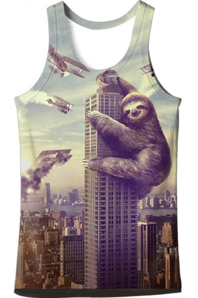 New Trendy Digital Building Gorilla Pattern Round Neck Casual Tank Tee
