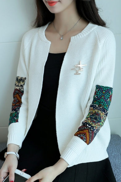 New Round Printed Neck Cardigan Comfort Sleeve Tribal Trendy Long SqrSH