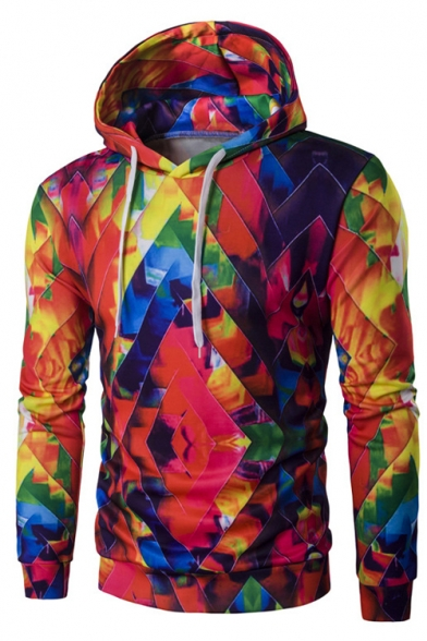 3D Fashion Splash-Ink Color Block Long Sleeve Casual Unisex Hoodie