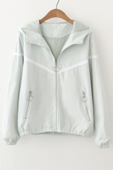 Chic Color Block Loose Leisure Hooded Long Sleeve Zip Up Coat