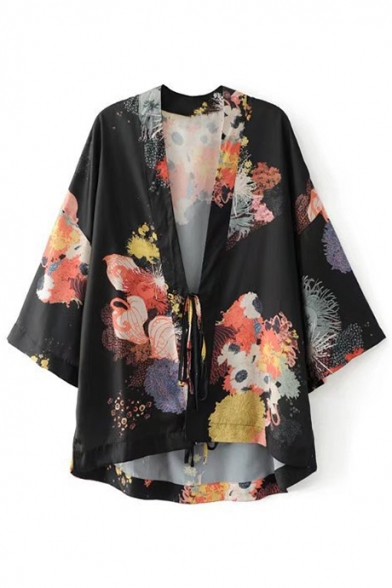 Chic Floral Printed 3/4 Sleeve Tied Waist Casual Loose Kimono Top