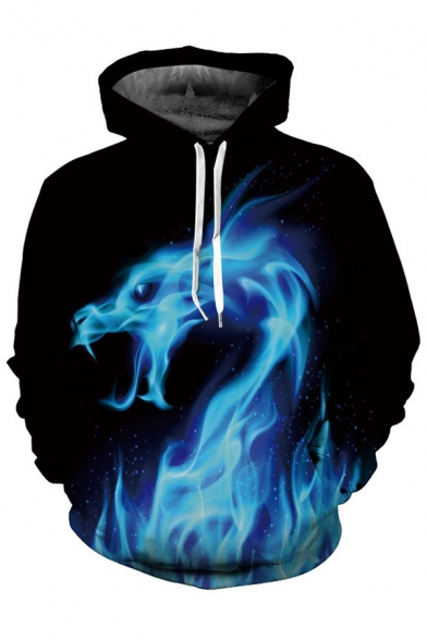 Pattern with Hoodie Unisex Sleeve Digital Fire Long Dragon Pockets qwEqTUp