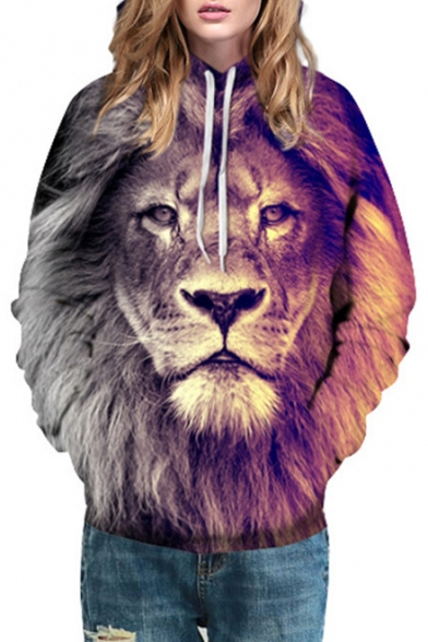 bba2d1dcc681 Drawstring Hooded 3D Lion Printed Long Sleeve Hoodie Sweatshirt -  Beautifulhalo.com