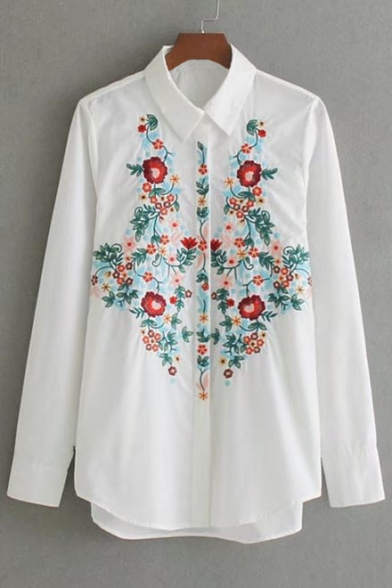Contrast Shirt Pattern Fashion Embroidery Tunic Floral Down Button Bw7Bq0