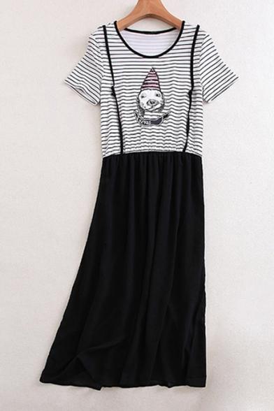 a31a8b1d75d Fashion Fake Two-Piece Striped Printed Cartoon Dog Printed Short Sleeve  Maxi Dress