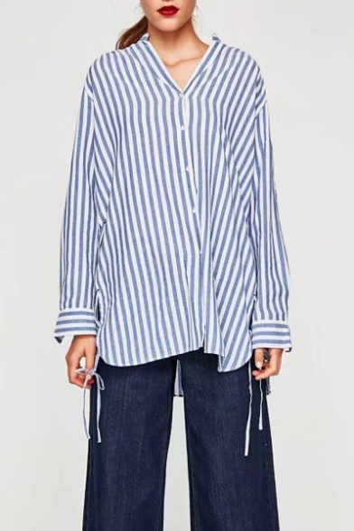 a5c4925a Fashion Striped Printed Long Sleeve V Neck Buttons Down Loose Shirt -  Beautifulhalo.com