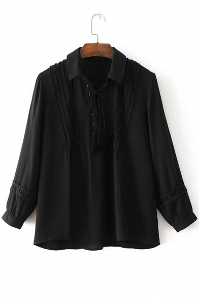 Lapel Collar Lace-Up Front Long Sleeve Simple Plain Lace Inserted Blouse