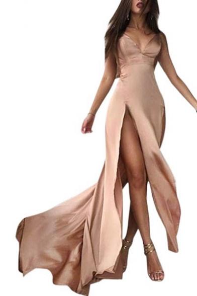 Sexy High Split Sides Sleeveless Spaghetti Straps Plain Maxi Cami Dress