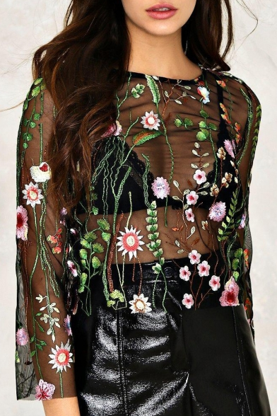 Chic Floral Embroidered Round Neck Long Sleeve Sexy Sheer