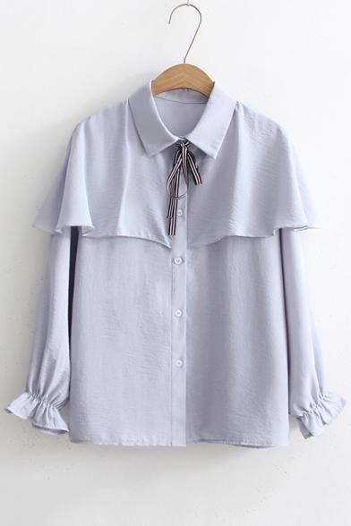 5abae60e Chic Ruffle Hem Bow Tie Collar Long Sleeve Basic Plain Buttons Down Shirt  ...