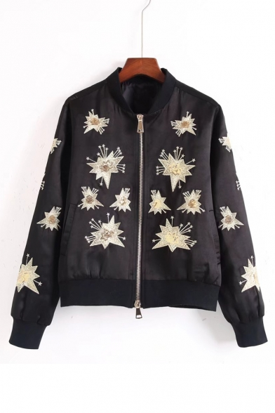 Chic Sequined Stars Pattern Stand-Up Collar Long Sleeve Zip Up Baseball Jacket