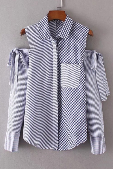 Chic Striped Plaids Pattern Cold Shoulder Long Sleeve Buttons Down Shirt