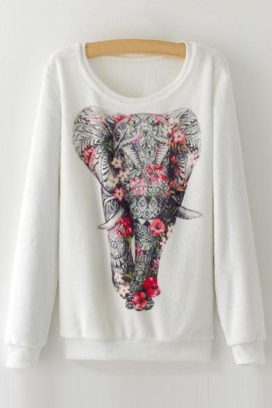 Long Digital Sleeve Elephant Floral Pullover Neck Printed Sweatshirt Round wRHURAq