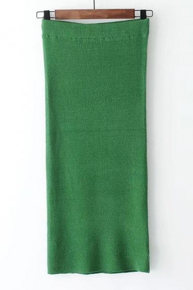 Elastic Waist Simple Plain Basic Midi Pencil Knit Skirt