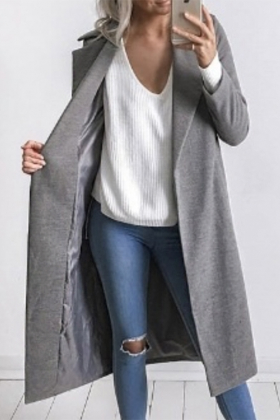 Fashion Women's Notched Lapel Long Sleeve Open Front Plain Tunic Coat