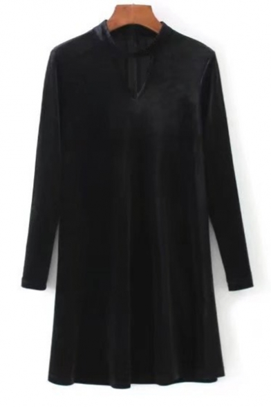 Hollow Out Necklace Collar Long Sleeve Simple Plain Shift Velvet Mini Dress