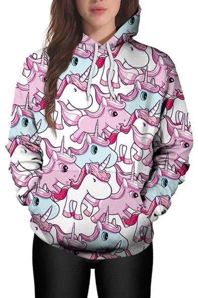 Hot Fashion Digital Unicorn Pattern Long Sleeve Casual Loose Hoodie