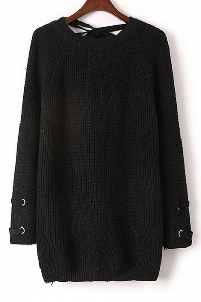Lace-Up Back Long Sleeve Round Neck Plain Pullover Sweater ...