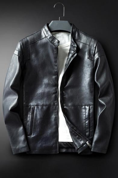 Loose Stand-Up Collar Long Sleeve Zipper Placket Plain PU Jacket
