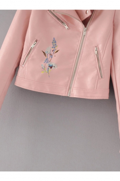 New Collection Floral Embroidered Notched Lapel Collar Zip Up Biker Jacket