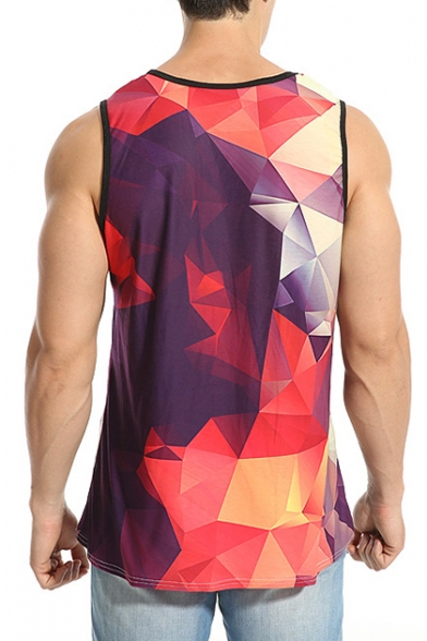 New Trendy Casual Loose Sports Geometric Pattern Round Neck Tank Tee